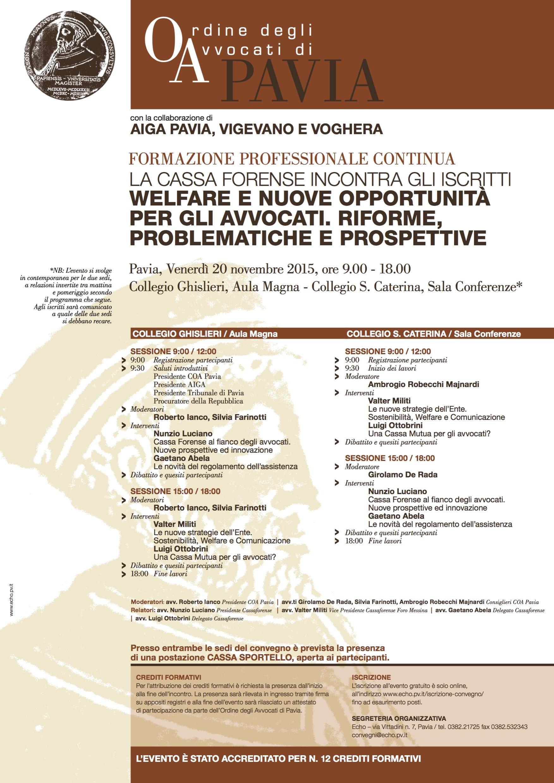 Convegno Cassa Forense a Pavia Avv. Girolamo De Rada